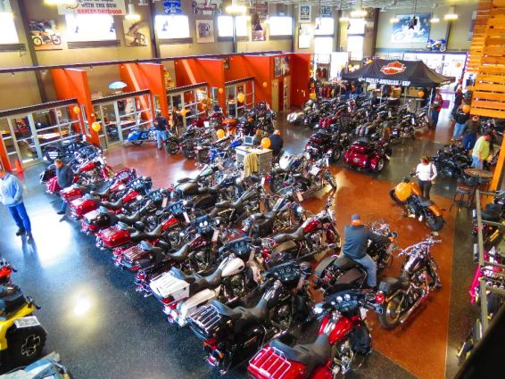 looking down onto the showroom floor ukes offers some of the finest harley motorcycles produced the v twin engine is the standard in all harley davidson